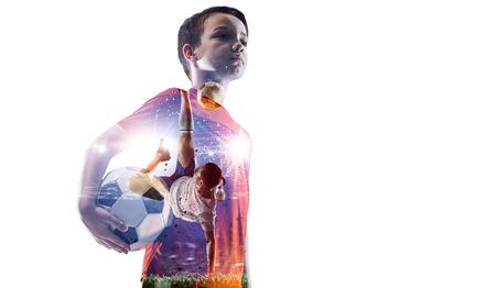 Little soccer champion. Mixed media Stockfoto