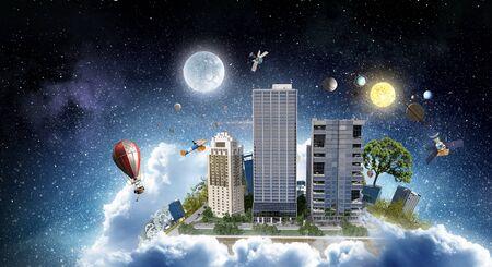 Concepto de la ciudad moderna. Medios mixtos Foto de archivo - 83621011