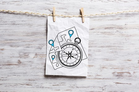 Paper pinned to rope. Mixed media Stock Photo