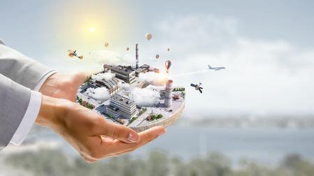 Concept industriële constructie. Gemengde media