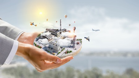 Konzept des Industriebaues Gemischte Medien Standard-Bild - 83621248