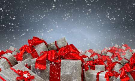 Many Christmas packages . Mixed media Stock Photo - 83621309