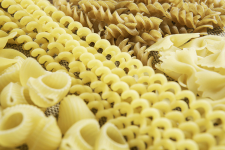 Close of uncooked macaroni