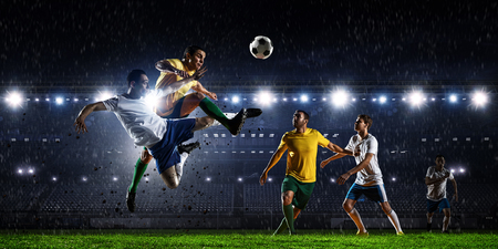Soccer best moments. Mixed media Stock Photo