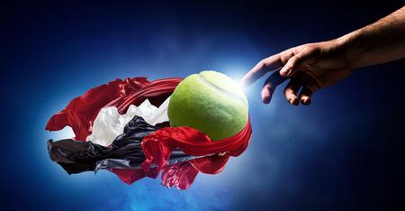 world championships: Big tennis game concept. Mixed media