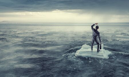 Surfing sea on ice floe. Mixed media Stock Photo