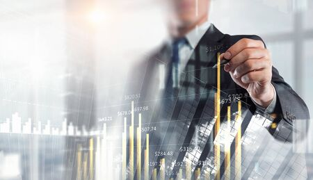 Financial business services. Mixed media Stockfoto