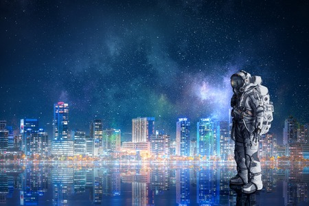 Space suit design. Mixed media 写真素材
