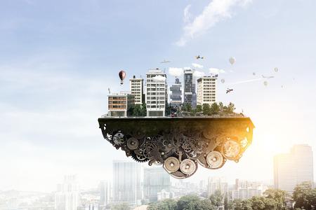 Modern stads buiteneiland die in lucht drijven. Gemengde media