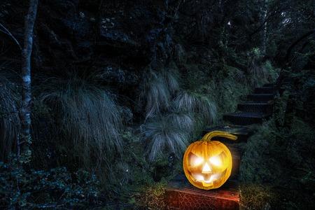 Glowing jack lantern. Mixed media
