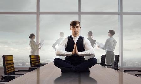 master: Finding spiritual balance. Mixed media Stock Photo