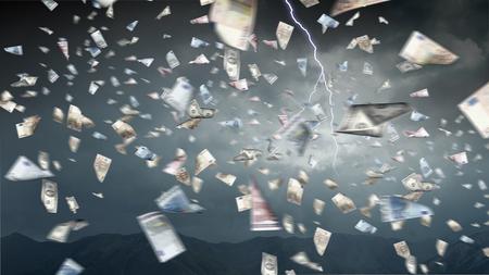 It is raining money. Mixed media Stock fotó
