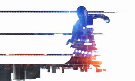 ボクシング スポーツ コンセプト。ミクスト メディア。ミクスト メディア