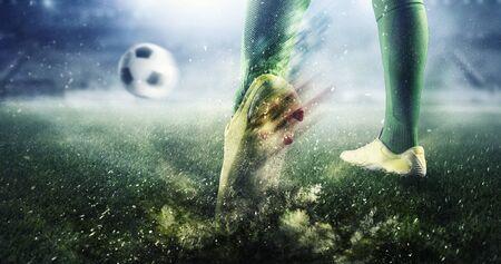 Soccer goal moment. Mixed media . Mixed media