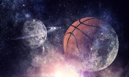 Basketball game concept . Mixed media