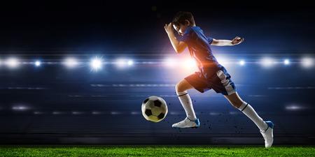 Little soccer champion. Mixed media . Mixed media Stok Fotoğraf - 84142387