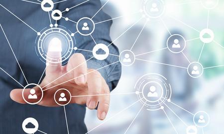 ソーシャル コネクションとネットワーク。3 D レンダリング。ミクスト メディア