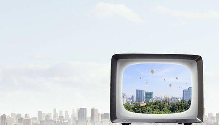 Retro TV monitor. Mixed media . Mixed media