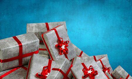 Mountain of gift boxes. Mixed media Stock Photo - 84196516