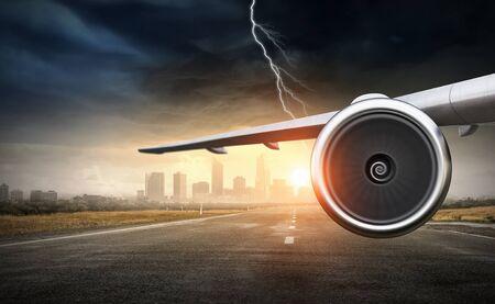 Emergency airplane landing. Mixed media 版權商用圖片