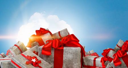 Mountain of gift boxes. Mixed media Stok Fotoğraf - 84196761
