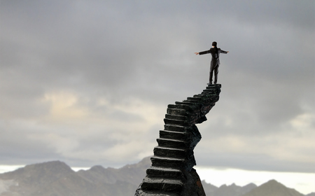 Making risky steps. Mixed media