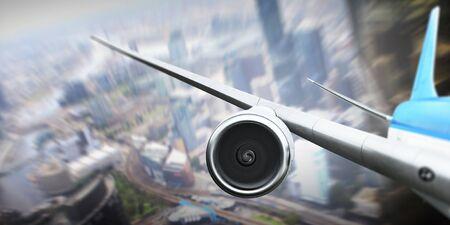 Close of airplane in sky 版權商用圖片
