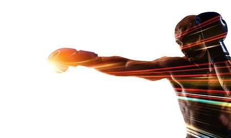 ボクシング スポーツ コンセプト。ミクスト メディア 写真素材