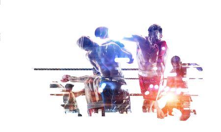 Boxing sport concept. Mixed media