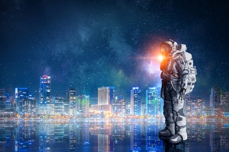 Space suit design. Mixed media Stock Photo