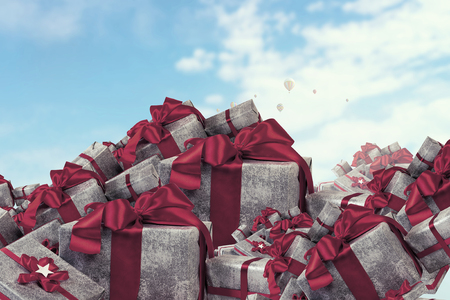 Mountain of gift boxes. Mixed media Stock Photo - 84626377