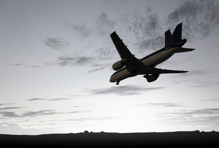 Airliner in sky. Mixed media Stock Photo