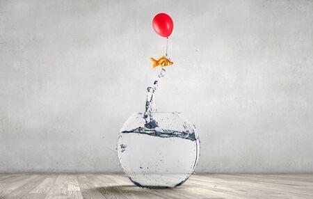 Goudvis die uit vissenkom met duidelijk water springt Stockfoto