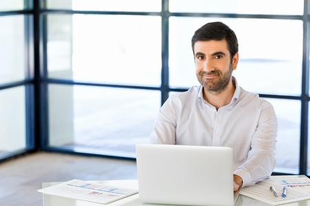 designer: Handsome businessman working at computer