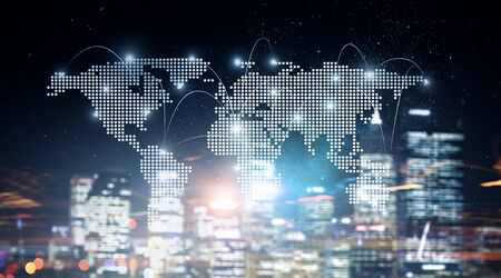 International business partnership. Mixed media Banco de Imagens
