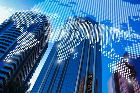 International business partnership. Mixed media 스톡 콘텐츠