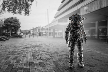 Space explorer in astronaut suit at city street. Mixed media Stock Photo