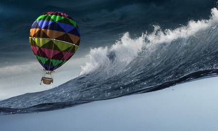 Air balloon in storm