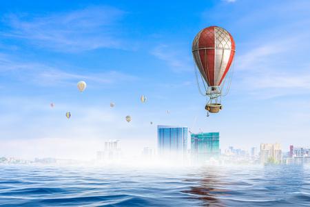 Modern city under the sea. Mixed media Reklamní fotografie