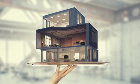 Realiseer uw interieur droom. Gemengde media Stockfoto