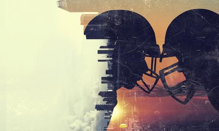 アメリカン フットボールの試合。ミクスト メディア 写真素材