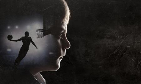 Silhouette of kid boy 写真素材
