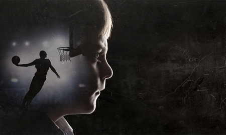 Silhouette of kid boy Standard-Bild