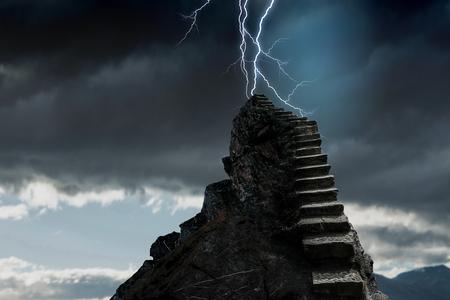 Stone staircase as progress concept and lightning striking top. Mixed media Banco de Imagens