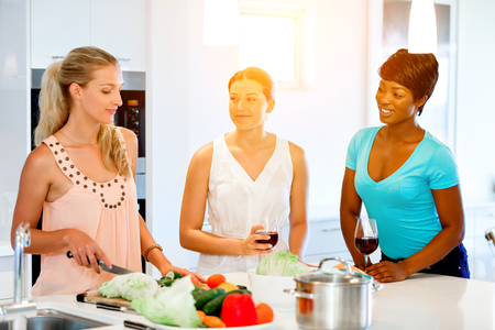 Young female friends in kitchen Stock Photo