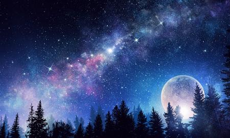 星空と月。ミクスト メディア