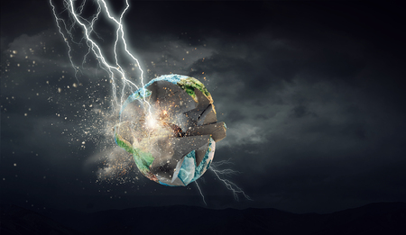 Lightning striking Earth planet