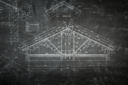 Engineering drawn plan. Mixed media Banco de Imagens