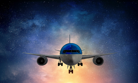 Night airliner flight. Mixed media Stock fotó