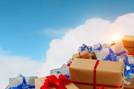 Mountain of gift boxes. Mixed media Stok Fotoğraf - 89429985